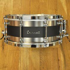 Dunnett 6.5x14 Polished Titanium Snare Drum w/Matte Chocolate Brown Centreline