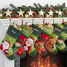These Personalized Family Christmas Stockings are my favorite! You can choose a stocking with a Santa, Mrs. Claus, Girl Elf, Boy Elf, Girl Gingerbread Cookie or Boy Gingerbread cookie! You can get one for each of your family members! They embroider the stockings with any name and personalization is FREE!