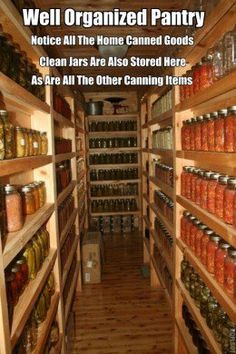 Creative Storage Solutions to Organize All Your Food & Supplies This would be amazing! I would be one happy lady with that kind of canning storage room!This would be amazing! I would be one happy lady with that kind of canning storage room! Basement Storage, Pantry Storage, Pantry Organization, Organized Pantry, Storage Stairs, Canning Jar Storage, Canning Jars, Can Storage, Pantry Diy