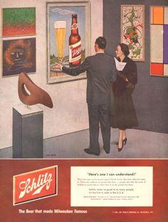 1952 Schlitz beer print ad Modern Art museum gallery by Vividiom, $8.00