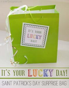 St. Patrick's Day SURPRISE Bag for your Spouse - It's your lucky day!! Cute gift idea.