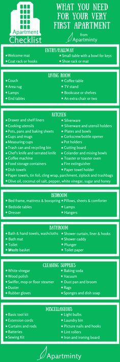 Dekoration Wohnung – A checklist of what you need for your first apartment A checklist of what you need for your first apartment Source by Apartment Needs, Apartment Hacks, 1st Apartment, Apartment Goals, Dream Apartment, Apartment Living, Apartment Hunting, Apartment Kitchen, Apartment Interior