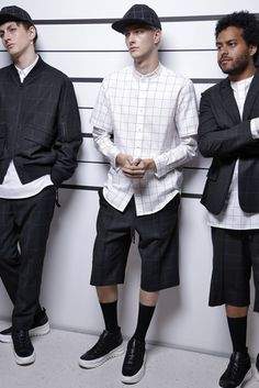 Public School SS16 show, nice clean detailing, love the shorts and socks combo, very cool stuff