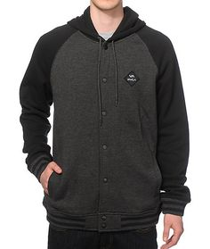 Get a new two tone style with a RVCA logo patch on a fleece lined charcoal body with contrasting black raglan sleeves.