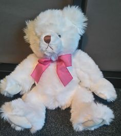 Applause White pink bow Bear 12 Inches Plush Soft Toy *