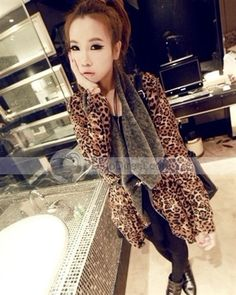 Dianice™ Fashion Leopard Cardigan Asymmetrical Long Sleeve Cashmere Womens Poncho