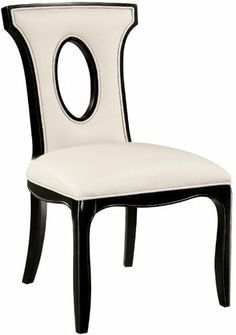 Alexis Side Chair - Traditional Accents 6070922 by Bailey Street. $498.00. Traditional dining or occasional arm chair with a strong decorative presence Frame and wooden key hole in the back are finished in ebony Seat and back are covered in ivory bonded leather Legs of the chair end in elegant curved feet Made of plantation grown hardwood This item MUST be ordered in INCREMENTS of 2
