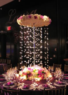 Flower and crystal Chandelier Centerpiece
