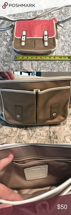 "Coach crossbody Handbag Pink, brown and white leather crossbody. Magnetic closure. 19"" strap drop. Good condition, has been stored in a dust bag for awhile so just needs use! Coach Bags Crossbody Bags"