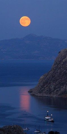 """Boating under the lovely moon"".. Symi Island (Dodecanese), Greece // by Nikos Laskaridis"