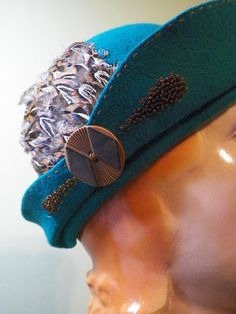 Teal Hand Blocked Wool Cloche Style Hat with Vintage Button, Feathers & Glass Beads, SOLD