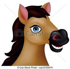 Horse head cartoon - Vector illustration of horse head...