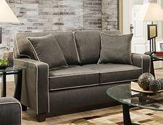 Chloe Charcoal Love Seat With Contrasting Welt and Two Toss Pillows * Click image to review more details.