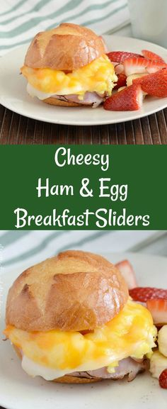 Cheesy Ham and Egg Breakfast Sliders - Quick and easy breakfast sandwiches made with ham, scrambled eggs and cheese and baked until warm and melty. Perfect for make ahead grab and go breakfast and freezer friendly! from Meatloaf and Melodrama #breakfast #freezerfriendly #makeahead #easyrecipes