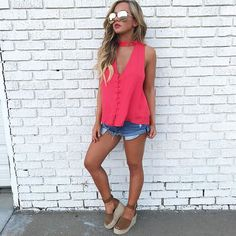 These tops by lush have the cutest button down detail with a loose flowy fit $39 also available in black