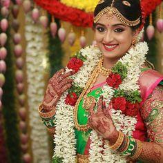 Beautiful bride  dolled up by@prakatwork ❤️ follow us @madrasibride❤️  _________________________ Check out www.Madrasibride.com for #weddinginspiration ❤️ follow us @madrasibride❤️ _________________________ #indianwedding #southindianwedding #indianbride #southindianbride #indianweddingphotography #bridalportrait #weddingjewellery #bridalmakeup #indianbridalmakeup #weddingsaree #weddinggarland