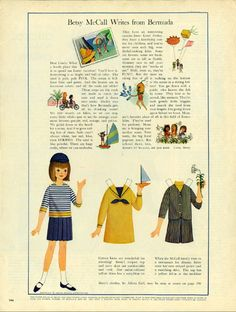 Vintage April 1965 Magazine Paper Doll of Betsy McCall Writes From Bermuda