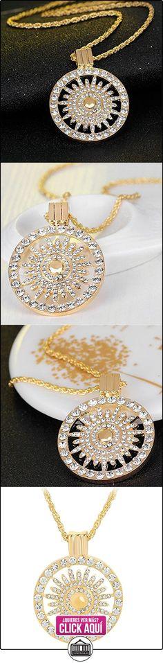 CLOCOLOR Colgante, collar hueco del ojo de gato de oro cristales para mujeres con cadena de plata de 50 cm del encintado (Oro)  ✿ Joyas para mujer - Las mejores ofertas ✿ ▬► Ver oferta: http://comprar.io/goto/B01LAMKSWG