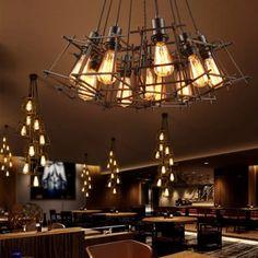 Baycheer / Cluster Multi Light Pendant Loft Iron Square Cage Multi Pendant Light in Black for Living Room Vintage Pendant Lighting, Cheap Pendant Lights, Industrial Lighting, Industrial Chandelier, Loft Lighting, Unique Lighting, Edison Lamp, Multi Light Pendant, Rustic Curtains