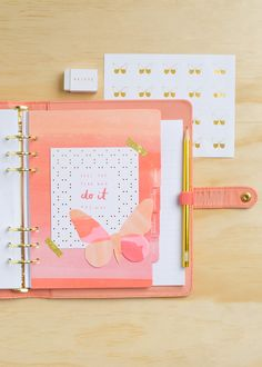 Share the kikki.K Planner Love with this gorgeous Be Brave peach Planner and butterfly accessories
