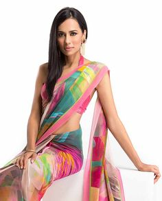 Multicolored georgette Saree perfect for summer time wear Indian Attire, Indian Wear, Indian Style, Indian Dresses, Indian Outfits, India Fashion, Saree Fashion, Asian Fashion, Women's Fashion