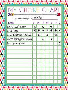 Free printable chore chart for kids ogt blogger friends