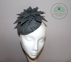 MIA Vintage charcoal grey wool felt pillbox hat Grey
