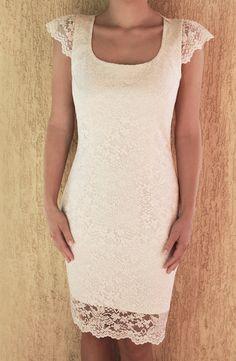 Wedding Lace Dress Short Lace Dress Short Wedding by PolinaIvanova  Good for shower or rehearsal dinner