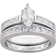 personalized marquise cz two piece 5 carat tgw engraved wedding ring set in sterling silver - Walmart Wedding Ring Sets