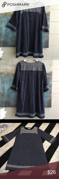 Anthropologie Illa Illa Sweater Dress Size Medium Anthro Illa Illa tunic style sweater dress, fully lined with 3/4 sleeves, scoop neckline and pretty stitched detail across the shoulders, chest, bottom and bell sleeves. Size Medium. Color Chalky Blue. Material Cotton/Poly/Acrylic blend. Measurements shoulders: 14, pits: 19, top to bottom: 33 Anthropologie Dresses