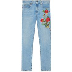 Gucci Embroidered Denim Pant found on Polyvore featuring jeans, pants, bottoms, gucci, jeans/pants, floral trousers, floral print trousers, flower pants, blue denim pants and floral printed pants