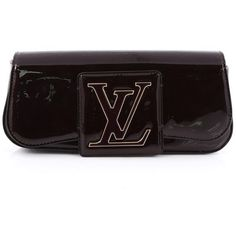 Pre-Owned Louis Vuitton Sobe Clutch Patent (13,970 MXN) ❤ liked on Polyvore featuring bags, handbags, clutches, dark brown, patent leather handbags, patent handbags, colorful purses, monogrammed purses and pre owned handbags