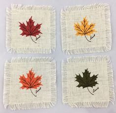 Extra: Fringed squares with silkscreened autumn/fall Maple leaf design; can be used as appliqués for crafts, quilting and sewing. Type: Fringed Fabric Squares. Quantity: Set of 4 squares. Colors: Red, Green, Yellow, Orange. | eBay!