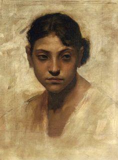 Head of a Capri Girl   John Singer Sargent   oil painting