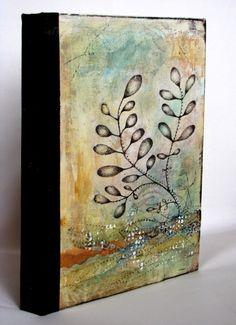 Kim Henkel bound book cover - watercolor paper inside, 6x10