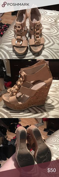 Aldo tan wedges Aldo tan wedges, definitely used but still have a lot of life left in them Aldo Shoes Wedges