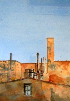 Chimneys by Peter Robinson Unique Buildings, City Buildings, Klimt, Gouache, Your Paintings, Watercolor Paintings, Peter Robinson, Robert Henri, Building Art