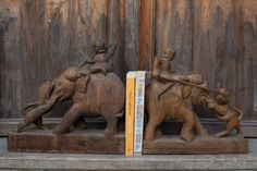 A Pair of Fabulous 1940's Wooden Bookends from by Lallibhai, £75.00