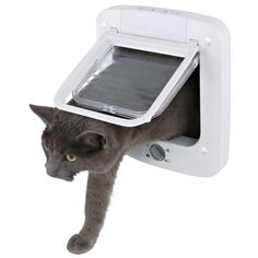 The draft-resistant, durable plastic frame and quiet transparent door of our 4-Way Cat Door with Rotary Lock make it a perfect fit for the garage, laundry, or litter box room door. Quick and easy installation. Template included.