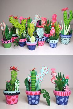 Paper mache cacti by Kim Sielbeck #papermache #paperplants