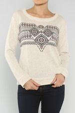 Tribal Terry Sweater, Cream