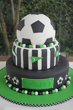 Soccer Birthday Cake Football Cake Thank you for this great idea for our next football party! Soccer Birthday Cakes, Birthday Desserts, Soccer Party, Soccer Cakes, Soccer Theme, Football Cakes For Boys, Soccer Ball Cake, 4th Birthday, Fancy Cakes