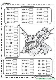 Juegos De Matemáticas Para Imprimir - Web Del Maestro Math Coloring Worksheets, 2nd Grade Math Worksheets, 1st Grade Math, Preschool Math, Math Activities, Maths, Math Addition, Math Art, Basic Math