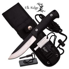 "Elk Ridge ""Ultimate Hunter"" FIXED BLADE KNIFE Features: - FIXED BLADE - 10.5"" OVERALL - 5.3"" 4.5MM BLADE, STAINLESS STEEL - SATIN FINISH PLAIN BLADE - BLACK NYLON FIBER PARACORD WRAP HANDLE - INCLUDES"