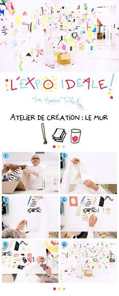 Création : le mur - L'expo idéale  Hervé Tullet crée un mur souvenir de ses créations, comme un rendez-vous de toutes les expériences.