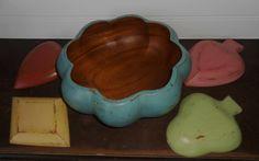 Painted Wood Salad Bowl Set   Salad Bowl Set  by AtticJoys1