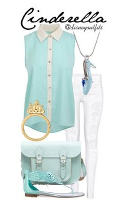 Cinderella outfit Disney. White pants. Turquoise tank top. Blouse.