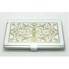 LZ New York Swarovski Crystallized Edwardian Two Tone White & Gold Stainless Steel Business Card Case fro Men and Women