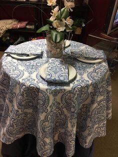 "Cynthia Rowley Blue & White Paisley Print 70"" Round Cotton Blend Tablecloth NEW! #CynthiaRowley"