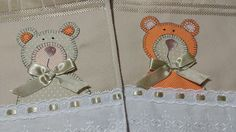 LOY HANDCRAFTS, TOWELS EMBROYDERED WITH SATIN RIBBON ROSES: TOALHA PERSONALIZADA COM URSO
